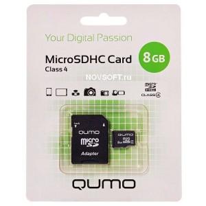 Карта памяти microSD  8GВ Qumo с адаптером (class  4)