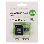 Карта памяти microSD 16GB Qumo с адаптером (class  4)