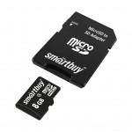 Карта памяти microSD  8GВ Smart Buy с адаптером (class 10)