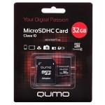 Карта памяти microSD 32GВ Qumo с адаптером (class 10)