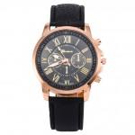 Часы наручные Geneva Platinum с кожанным ремнем (black)