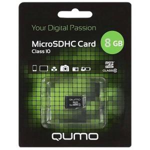 Карта памяти microSD  8GВ Qumo без адаптера (class 10)